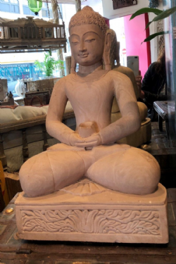 Hand Carved Golden  Sandstone Buddha with Alms Bowl <b>SOLD<b>